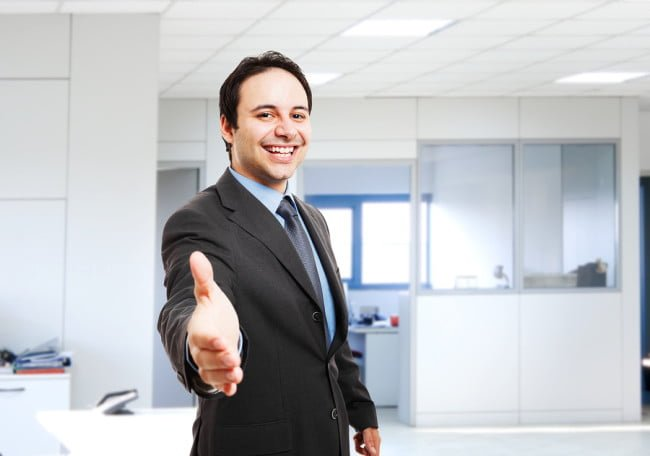 Smiling businessman pleased to meet you
