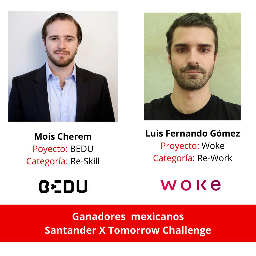 dos startups mexicanas ganadoras del Santander X #TomorrowChallenge