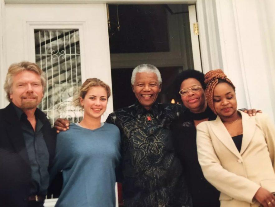Richard y Holly Branson con Nelson Mandela